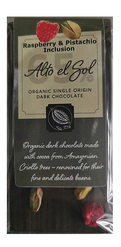 Organic Alto el Sol 65% Raspberry & Pistachio Inclusion Chocolate Bar 100g