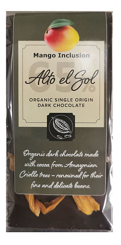 Organic Alto el Sol 65% Mango Inclusion Chocolate Bar 100g