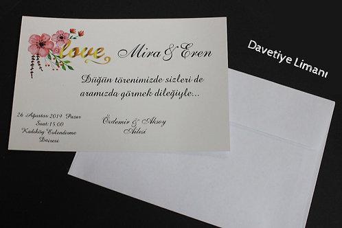Tek Kart Düğün Davetiye (1. Hamur Zarf)