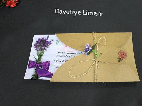 Premium Kraft Zarf Davetiye (Mor)
