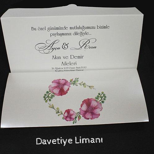 Premium Düğün Davetiye (Royal Red) Zarfsız