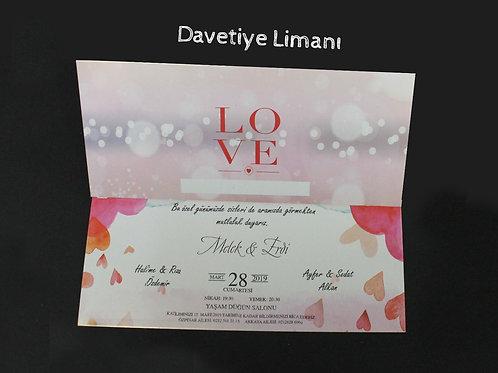 Premium Düğün Davetiye (Basic Love) Zarfsız