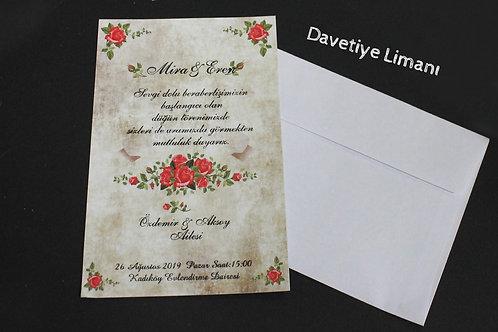 Tek Kart Düğün Davetiye 1. Hamur Zarf
