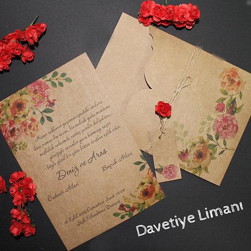 Premium Kraft Davetiye (Light Rose)
