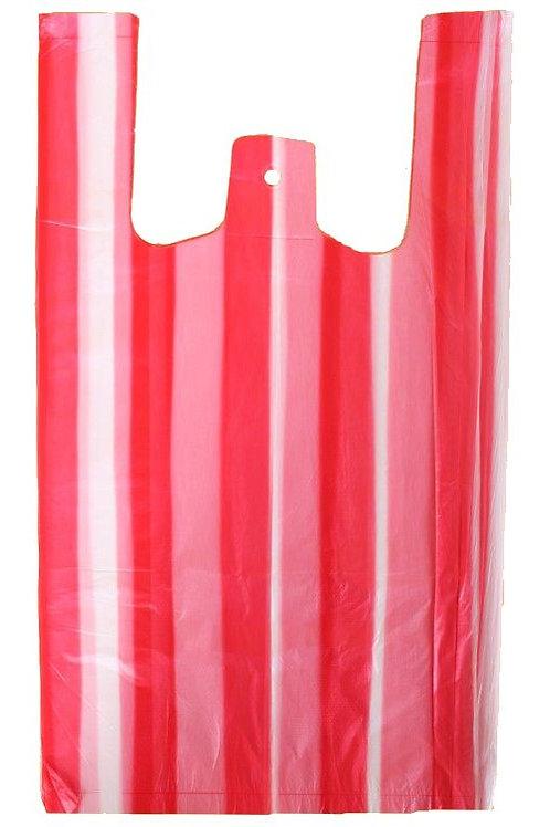 Taška HDPE 4kg, 100ks/blok, červeno-bílá pruhy