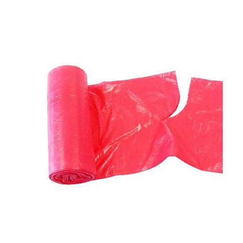Pytle LDPE s uchy a vůní JAHODY 60L, 18ks/role, červené