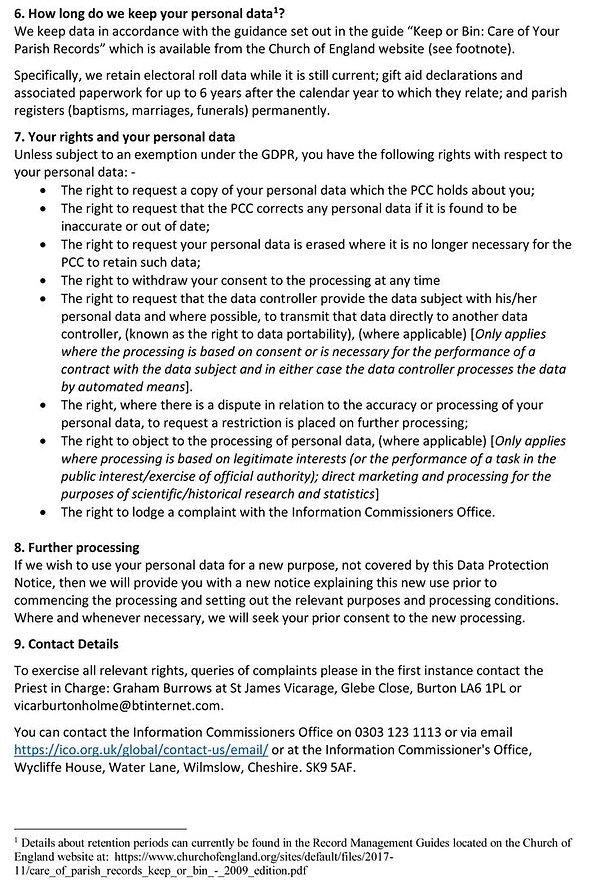 Burton and Holme Churches Data Privacy N