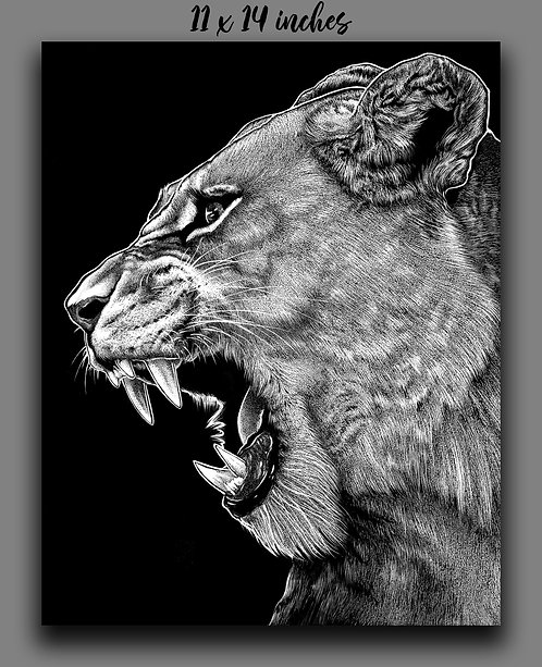 """Lioness"" Signed Print"