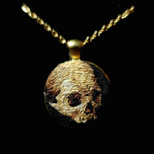 Golden Skull- Custom Embroidery Necklace