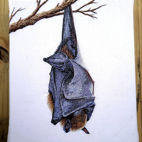 'Sleeping Bat' Handmade Embroidery