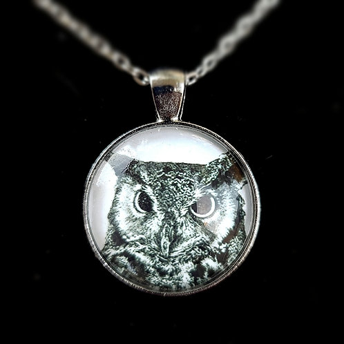 'Great Horned Owl' - Art Pendant Necklace