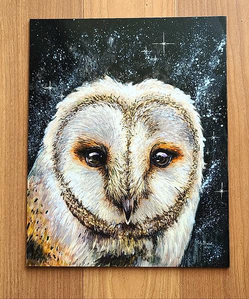 "'Starry Owl' Original Painting, 8"" x 10"""