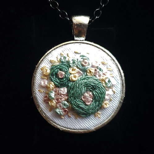 Green Roses - Hand Embroidered Necklace
