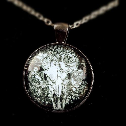 'Longhorn in Bloom' - Art Pendant Necklace