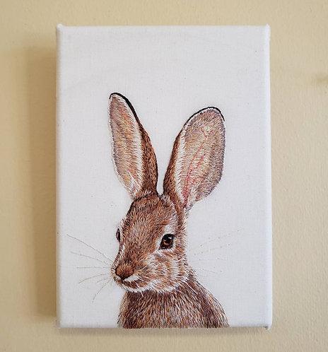 'Bunny Portrait' Handmade Embroidery