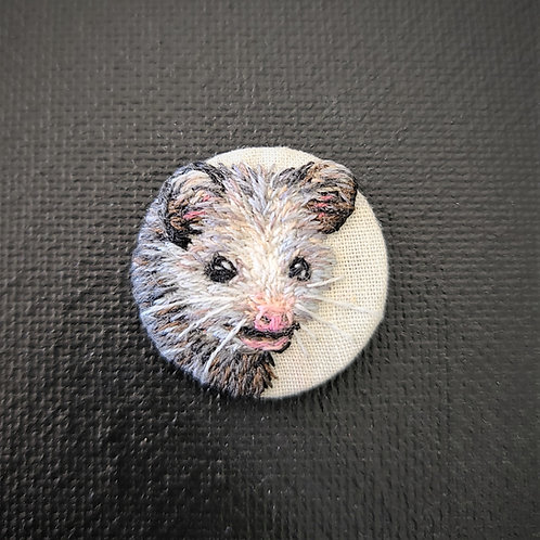 Baby Opossum - Embroidery Necklace