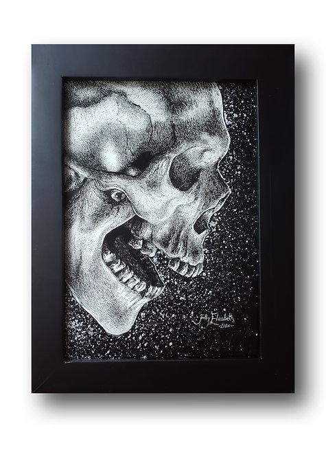 """'Silver Splatter Skull' Original Drawing, 5"""" x7"""""""