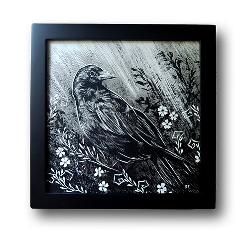 "'Raven in Flowers' Original Drawing, 8"" x 8"""