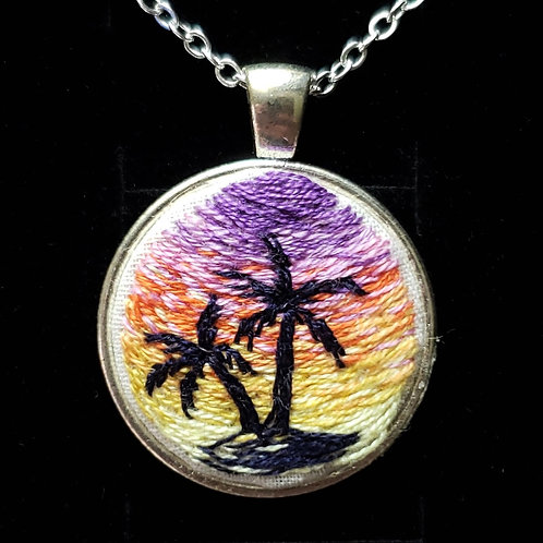 Palm Trees - Hand Embroidered Necklace