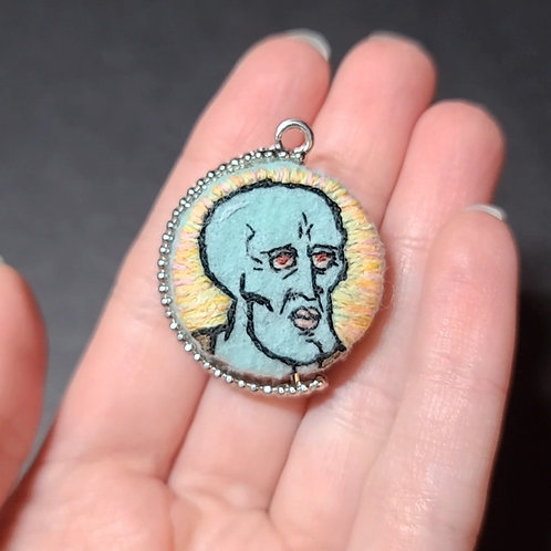 Handsome Squidward - Double Sided Embroidery Pendant