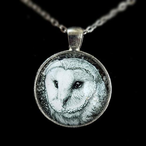 'Barn Owl in Flowers' - Art Pendant Necklace