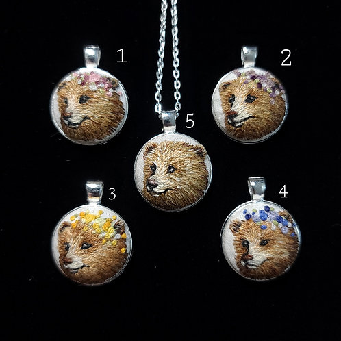 Spring Bear - Embroidery Necklace