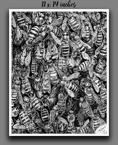 """Bee Swarm"" Print"