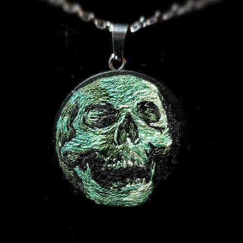 Green Skull - Custom Embroidery Necklace