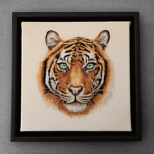 'Tiger' Framed Handmade Embroidery