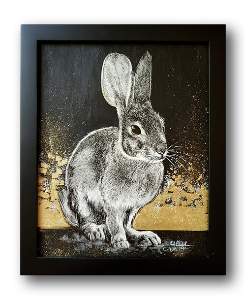 """'Golden Cottontail' Original Drawing w/ Gold Leaf, 8"""" x 10"""""""