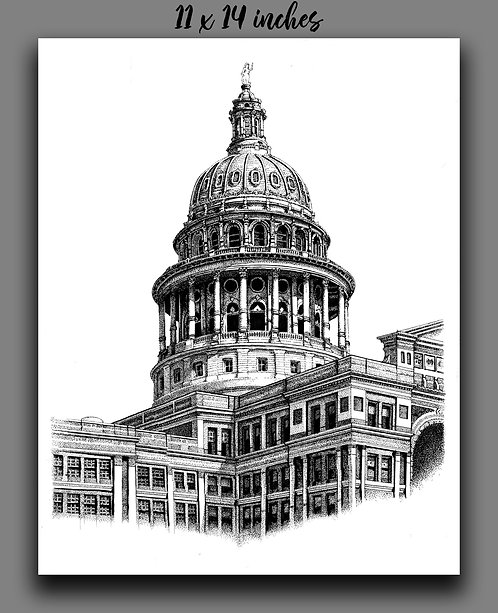 'Texas State Capitol' Signed Print
