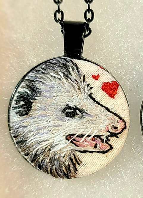 Love Possum- Embroidery Necklace Single