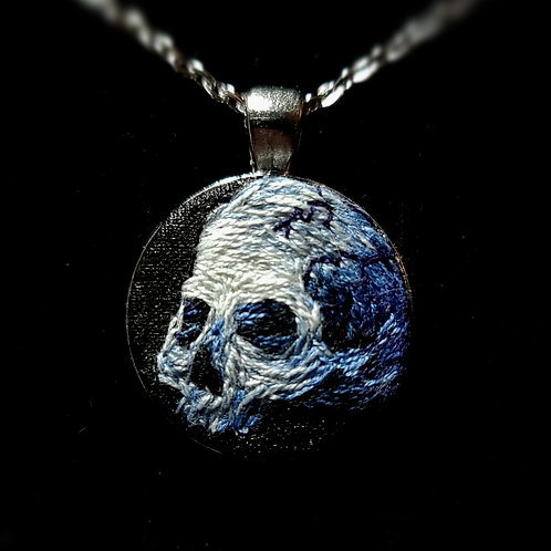 Blue Skull-  Custom Embroidery Necklace