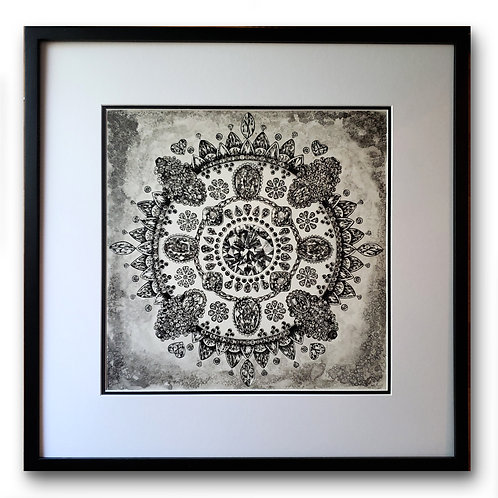 "'Jewel Mandala' Original Drawing, 16"" x 16"""