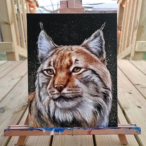 """'Lynx' Original Painting w/ Gold Leaf, 11"""" x 14"""""""