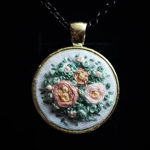 Pink Roses - Hand Embroidered Necklace