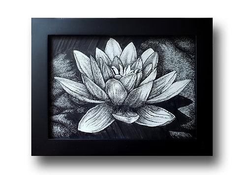 """'Lotus Flower' Original Drawing, 7"""" x 5"""""""