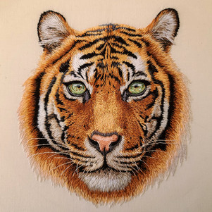 Tiger, Hand Embroidery