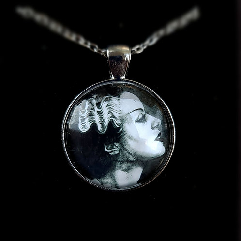 'Bride of Frankenstein' - Art Pendant Necklace