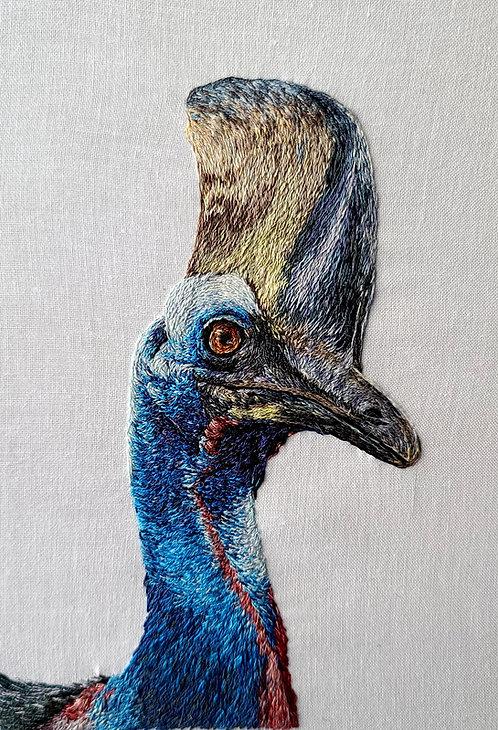 'Cassowary' Framed Handmade Embroidery