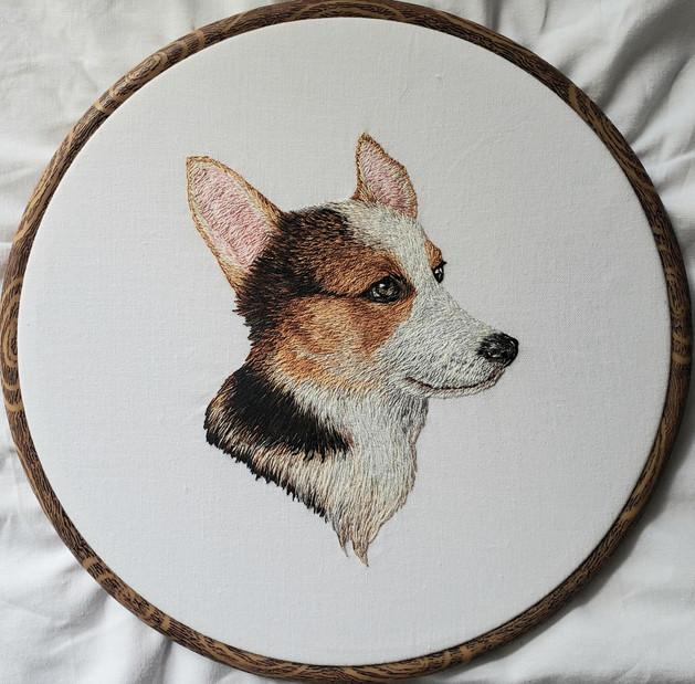 Custom Pet Portrait, Handmade Embroidery