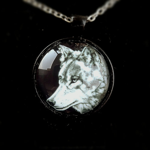 'Grey Wolf' - Art Pendant Necklace