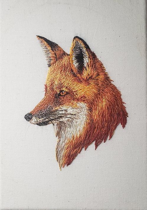 'Fox Portrait' Handmade Embroidery
