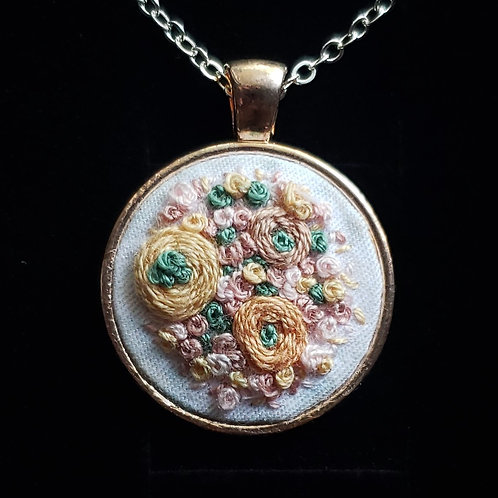 Yellow Roses - Hand Embroidered Necklace
