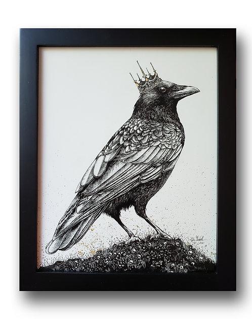 """'King Crow' Original Drawing w/ Gold Leaf, 8"""" x 10"""""""