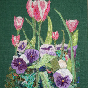 Textile based on a pot of flowers in my garden