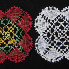 small mat similar to sampler 10 but with honeycomb sticth in centre sampler 17 - extension pattern