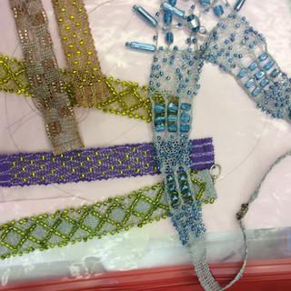 Beaded Bobbin Lace samples for a workshop