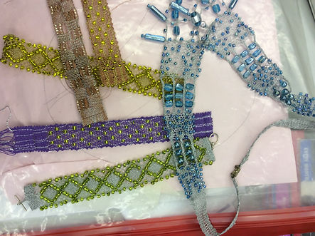 Beaded Bobbin Lace samples for a worksho