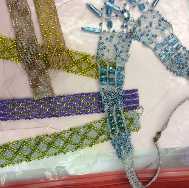 Beaded Bobbin Lace samples for a workshop